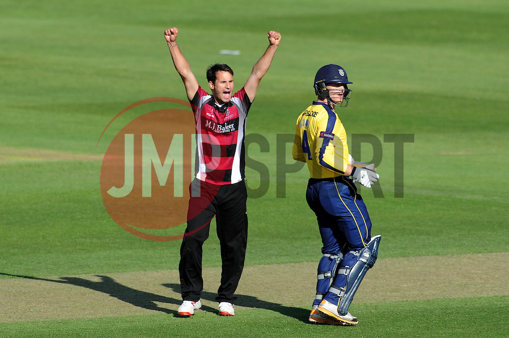Somerset's Lewis Gregory celebrates the wicket of Hampshire's Jimmy Adams - Photo mandatory by-line: Harry Trump/JMP - Mobile: 07966 386802 - 05/06/15 - SPORT - CRICKET - Somerset v Hampshire - The County Ground, Taunton, England.