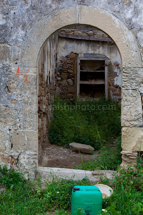 """Ruined building in the ancient Hellenic city of Polyrinia, Crete. The place name means """"many sheep"""" and it was the most fortified city in ancient Crete."""