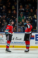 KELOWNA, BC - NOVEMBER 6: Mark Liwiski #9 and Alex Swetlikoff #17 of the Kelowna Rockets celebrate a second period goal against the Victoria Royals at Prospera Place on November 6, 2019 in Kelowna, Canada. (Photo by Marissa Baecker/Shoot the Breeze)