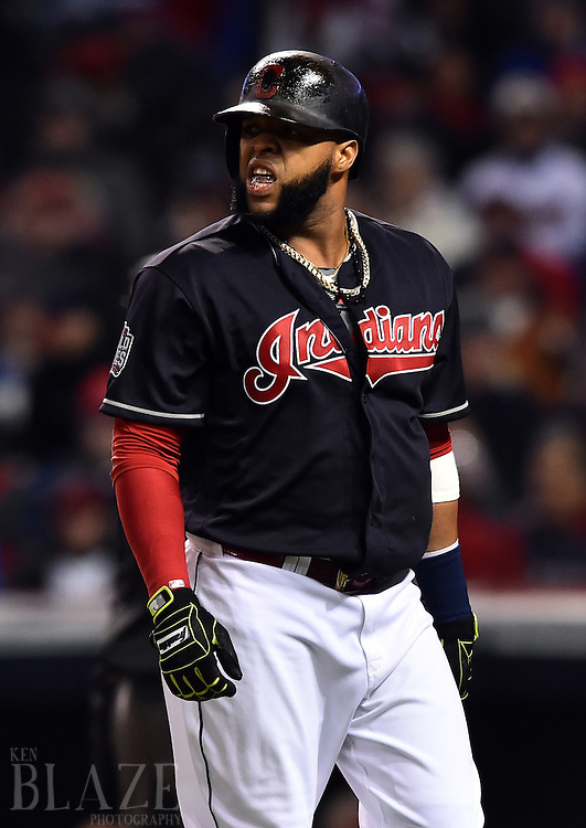 Oct 26, 2016; Cleveland, OH, USA; Cleveland Indians designated hitter Carlos Santana reacts after striking out against the Chicago Cubs in game two of the 2016 World Series at Progressive Field. Mandatory Credit: Ken Blaze-USA TODAY Sports