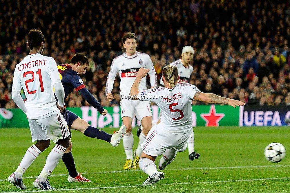 12.03.2013. Nou Camp, Barcelona, Spain. Champions League Barcelona FC versus AC Milan.  Photo shows the second goal scored by Lionel Messi