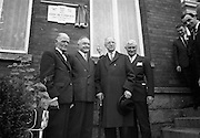 """Plaque to honour John McCormack..1966..27.09.1966..09.27.1966..27th September 1966..Legendary tenor """"Count"""" John McCormack was remembered today with the unveiling of a plaque at the house where he lived at Rock Road, Booterstown...The American Ambassador to  Ireland, Raymond R. Guest, unveilled a plaque at """"Glena"""", Rock Road, Booterstown, Co. Dublin, the house in which John Count McCormack, the world famous Irish tenor, died 21 years ago. Pictured at the ceremony are Dr. John F. Larchet, President of the John McCormack Society of Ireland; Cyril Count McCormack, son of the late John McCormack; President Eamon de Valera; and the American Ambassador Raymond R. Guest..27.09.1966"""