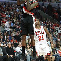 16 March 2012: Portland Trail Blazers guard Jamal Crawford (11) grabs a rebound during the Portland Trail Blazers 100-89 victory over the Chicago Bulls at the United Center, Chicago, Illinois, USA.