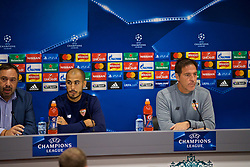 LIVERPOOL, ENGLAND - Tuesday, September 12, 2017: Sevilla's Guido Pizarro and head coach Eduardo Berizzo during a press conference at Anfield ahead of the UEFA Champions League Group E match against Liverpool. (Pic by David Rawcliffe/Propaganda)