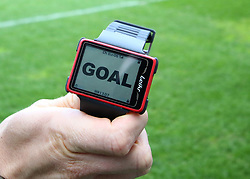 A general view of Referee Stephen Martin's Goal line technology device is tested before kick off