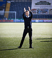 Dundee&rsquo;s interim manager Neil McCann celebrates with the travelling support - Kilmarnock v Dundee in the Ladbrokes Scottish Premiership at Rugby Park, Kilmarnock, Photo: David Young<br /> <br />  - &copy; David Young - www.davidyoungphoto.co.uk - email: davidyoungphoto@gmail.com