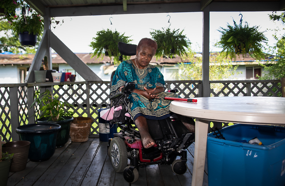 Navis Prestley cannot walk on her own. She has lived in St. James her entire life and wants to move before she dies.