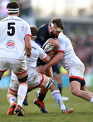 Will Stuart of Bath Rugby takes on the Ulster defence - Mandatory byline: Patrick Khachfe/JMP - 07966 386802 - 18/01/2020 - RUGBY UNION - Kingspan Stadium - Belfast, Northern Ireland - Ulster Rugby v Bath Rugby - Heineken Champions Cup