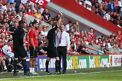 Charlton Athletic manager Lee Bowyer is shown a red card for throwing a ball into the opposition dugout - Mandatory by-line: Arron Gent/JMP - 14/09/2019 - FOOTBALL - The Valley - Charlton, London, England - Charlton Athletic v Birmingham City - Sky Bet Championship