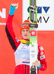 Second placed Peter Prevc of Slovenia celebrates during trophy ceremony after the Flying Hill Individual Event at 4th day of FIS Ski Jumping World Cup Finals Planica 2013, on March 24, 2013, in Planica, Slovenia. (Photo by Vid Ponikvar / Sportida.com)
