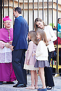 King Felipe VI of Spain, Princess Leonor, Princess Sofia and Queen Letizia of Spain attended the Easter Mass at the Cathedral of Palma de Mallorca on April 5, 2015 in Palma de Mallorca, Spain.