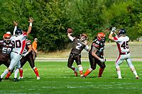 KELOWNA, CANADA - SEPTEMBER 16: Jakob Loucks #2, quarterback of the Okanagan Sun throws the ball against the Vancouver Island Raiders on September 16, 2018, at the Apple Bowl, in Kelowna, British Columbia, Canada.  (Photo by Marissa Baecker/Shoot the Breeze)  *** Local Caption ***