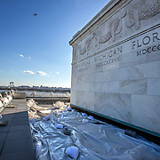 WASHINGTON, DC - FEB11: The roof of the Lincoln Memorial, which needs repairs, February 11, 2016. The memorial is going to be repaired and refurbished with the help of a gift from David Rubenstein, who is giving $18.5 million to the National Park Service to refurbish the Lincoln Memorial. (Photo by Evelyn Hockstein/For The Washington Post)