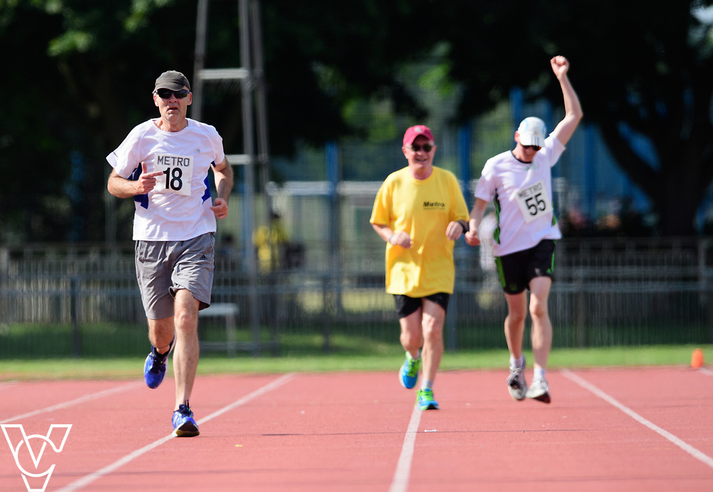Metro Blind Sport's 2017 Athletics Open held at Mile End Stadium.  5000m.  From left, David Beynon and Competitor #55 with guide runner<br /> <br /> Picture: Chris Vaughan Photography for Metro Blind Sport<br /> Date: June 17, 2017