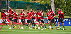 VALE DO LOBO, PORTUGAL - Saturday, May 28, 2016: Wales' Joe Ledley trains with his team-mates during day five of the pre-UEFA Euro 2016 training camp at the Vale Do Lobo resort in Portugal. (Pic by David Rawcliffe/Propaganda)