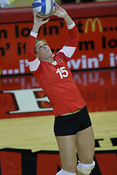 06 November 2010: Kristin Stauter sets up the attack during an NCAA volleyball match between the Purple Aces of the University of Evansville and the Illinois State Redbirds at Redbird Arena in Normal Illinois.