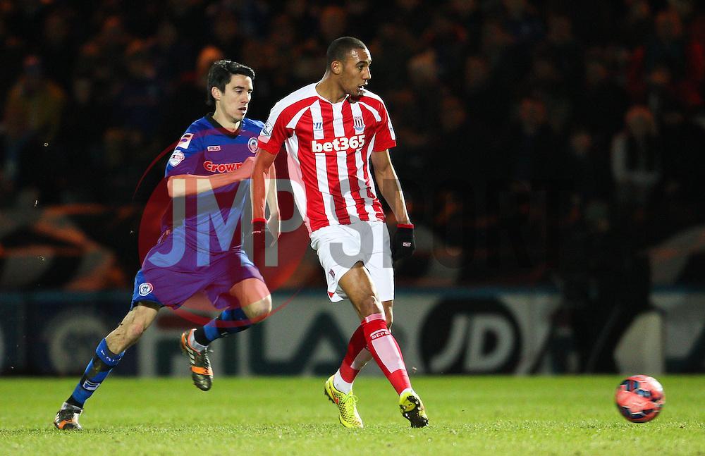 Stoke City's Steven N'Zonzi  & Rochdale's Peter Vincenti - Photo mandatory by-line: Matt McNulty/JMP - Mobile: 07966 386802 - 26/01/2015 - SPORT - Football - Rochdale - Spotland Stadium - Rochdale v Stoke City - FA Cup Fourth Round