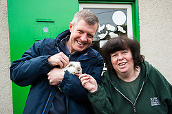 Pictured: Volunteer Moira Black introduced Willie Rennie to Ruby the guinea pig.<br /> <br /> Scottish Liberal Democrat leader Willie Rennie called for a boost to vocational training opportunities when he met volunteers, Leah Muirhead and Graham Mathieson, at Gorgie City Farm in Edinburgh. After touring the farm, which provides volunteering and training opportunities for at-risk young people and adults with additional support needs, Mr Rennie set out Lib Dem plans to increase opportunities for industry-recognised vocational qualifications.  <br /> Ger Harley | EEm 8 April 2016