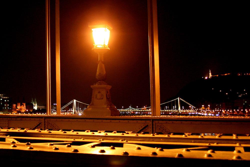 Elisabeth Bridge (Erzsébet Híd) from Széchenyi Chain Bridge (Lánchíd), Budapest, Hungary