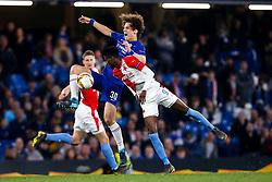 David Luiz of Chelsea challenges Peter Olayinka of Slavia Prague - Mandatory by-line: Robbie Stephenson/JMP - 18/04/2019 - FOOTBALL - Stamford Bridge - London, England - Chelsea v Slavia Prague - UEFA Europa League Quarter Final 2nd Leg