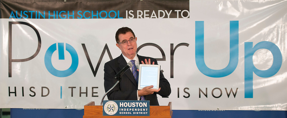 Houston ISD Superintendent Dr. Terry Grier comments during a news conference during the PowerUp laptop distribution and training at Austin High School, August 13, 2013.