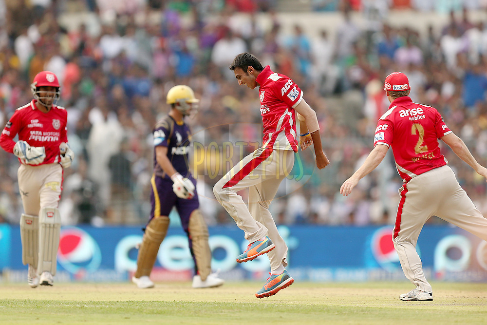 Akshar Patel celebrates the wicket of Manish Pandey during the first qualifier match (QF1) of the Pepsi Indian Premier League Season VII 2014 between the Kings XI Punjab and the Kolkata Knight Riders held at Eden Gardens Cricket Stadium, Kolkata, India on the 28th May 2014. Photo by Jacques Rossouw / IPL / SPORTZPICS<br /> <br /> <br /> <br /> Image use subject to terms and conditions which can be found here:  http://sportzpics.photoshelter.com/gallery/Pepsi-IPL-Image-terms-and-conditions/G00004VW1IVJ.gB0/C0000TScjhBM6ikg