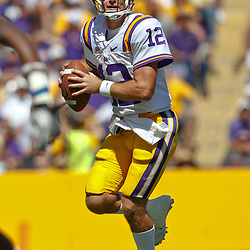 October 1, 2011; Baton Rouge, LA, USA;  LSU Tigers quarterback Jarrett Lee (12) looks to throw against the Kentucky Wildcats during the third quarter at Tiger Stadium. LSU defeated Kentucky 35-7. Mandatory Credit: Derick E. Hingle-US PRESSWIRE / © Derick E. Hingle 2011