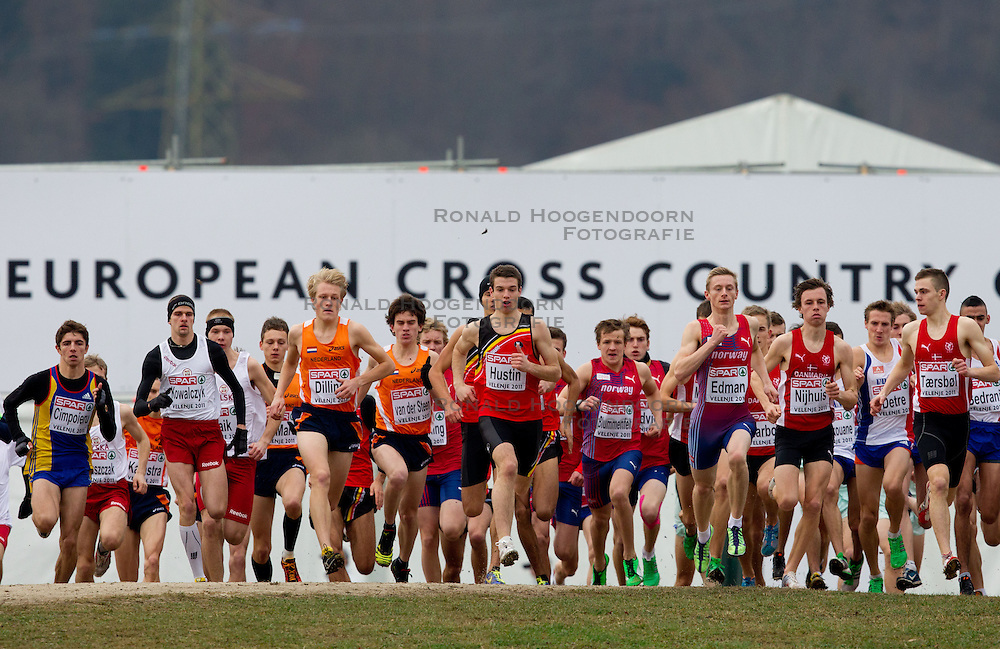 11-12-2011 ATLETIEK: EK 18 TH SPAR CROSS COUNTRY: VELENJE<br /> Start of  the Junior Men's race during the 18th SPAR European Cross Country Championships Velenje with Hans Dilling and Maikel van der Steen<br /> ©2011-FotoHoogendoorn.nl/Vid Ponikvar