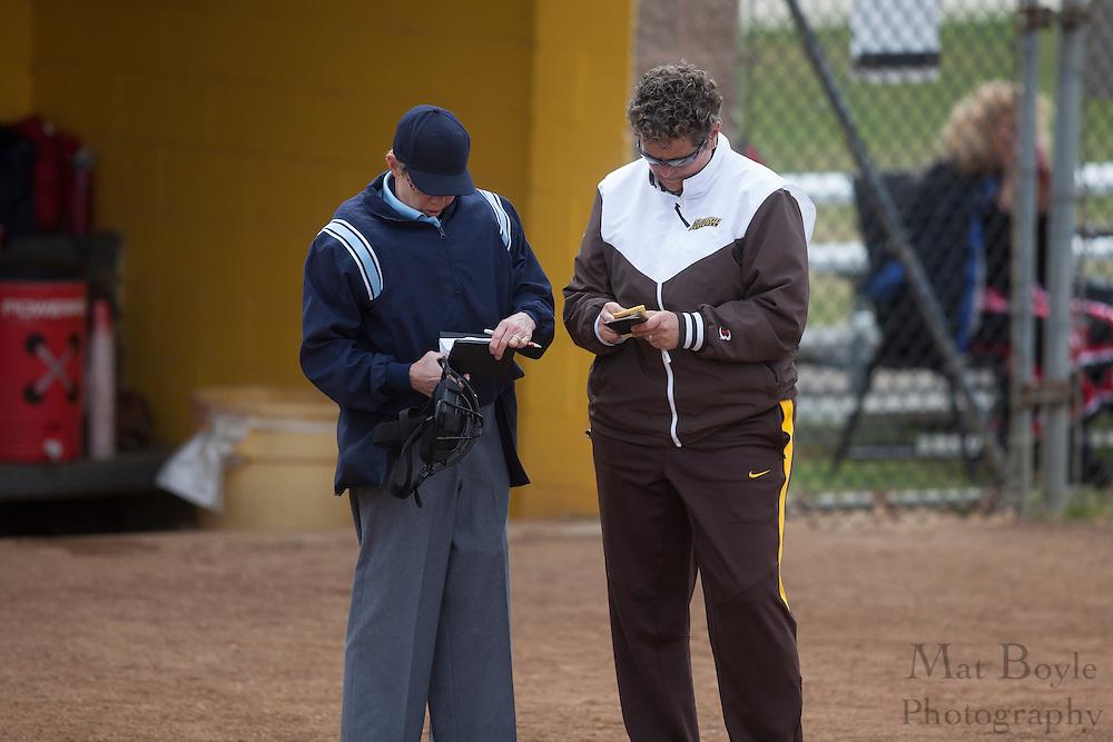Rowan University Softball Head Coach Kim Wilson; Rutgers-Camden softball at Rowan University on Tuesday April 10, 2012 in Glassboro, NJ. (photo / Mat Boyle)