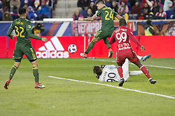 March 10, 2018 - Harrison, New Jersey, United States - Goalkeeper Jake Gleeson (90) of Portland Timbers saves during regular MLS game against New York Red Bulls at Red Bull Arena Red Bulls won 4 - 0  (Credit Image: © Lev Radin/Pacific Press via ZUMA Wire)