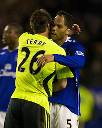LIVERPOOL, ENGLAND - Thursday, April 17, 2008: Everton's Joleon Lescott and Chelsea's captain John Terry during the Premiership match at Goodison Park. (Photo by David Rawcliffe/Propaganda)