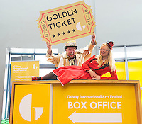 15/06/2015 REPRO FREE The Ultimate Galway International Arts Festival Golden Ticket!<br /> See every show at Galway International Arts Festival from 13 - 26 July and have yourself an extraordinary experience this July.<br /> <br /> One lucky winner will win one ticket to see each of the following 9 Theatre shows , 37 Music shows , 15 First Thought Talks, 3 Comedy shows, 4 Backstage Talks<br /> <br /> All you have to do is purchase one ticket for a Galway International Arts Festival between Monday 15 June and Sunday 22 June and you will be entered into a draw where you could win 68 tickets to everything at Galway International Arts Festival.<br /> Philip Sweeney and Andrea Healy at the opening of the Galway International Arts Festival box office opening at the Galway Tourist office .  Photo:Andrew Downes XPOSURE