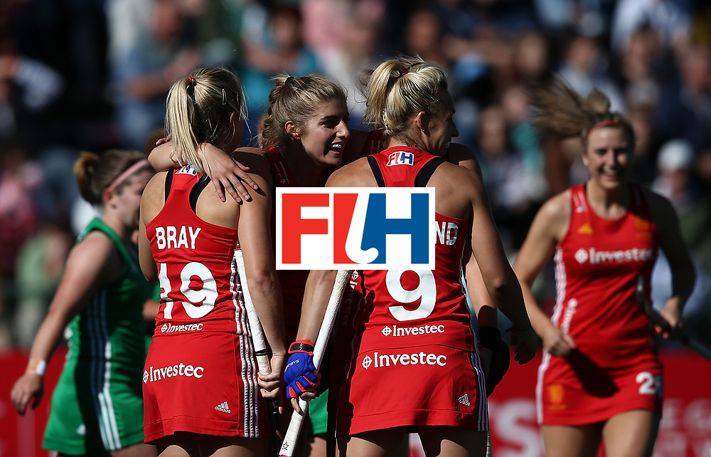 JOHANNESBURG, SOUTH AFRICA - JULY 16:  England players celebrate the opening goal during day 5 of the FIH Hockey World League Women's Semi Finals Pool A match between England and Ireland at Wits University on July 16, 2017 in Johannesburg, South Africa.  (Photo by Jan Kruger/Getty Images for FIH)