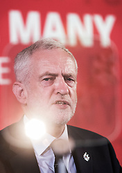 © Licensed to London News Pictures. 26/05/2017. London, UK. A spotlight is reflected off an Autocue screen as Labour party leader Jeremy Corbyn re-starts his election campaign with a speech in Westminster. All election campaigning was stopped as a mark of respect for the victims of Monday's terror attack in Manchester in which 22 people died. Photo credit: Peter Macdiarmid/LNP