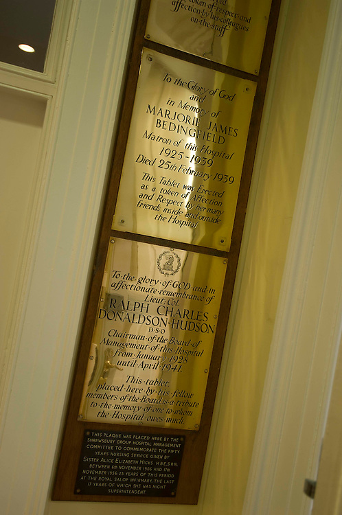 Shrewsbury town, Shropshire, England, memorial plaques in the former hospital
