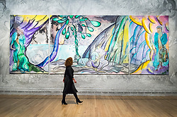 © Licensed to London News Pictures. 25/04/2017. London, UK. Visitor views Turner prize-winning artist CHRIS OFILI new tapestry titled The Caged Bird's Song.  The tapestry is part of the Weaving Magic exhibition showing at the National Gallery. Photo credit: Ray Tang/LNP