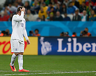 Wayne Rooney of England reacts to a missed chance during the 2014 FIFA World Cup match at Arena Corinthians, Sao Paulo<br /> Picture by Andrew Tobin/Focus Images Ltd +44 7710 761829<br /> 19/06/2014