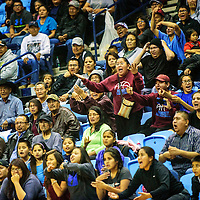 Fans react after a late-game call during the Tournament of Champions basketball game between the Window Rock lady Scouts and Ganado lady Hornets at the Window Rock Scout Event Center in Fort Defiance Wednesday.  The closely contended matchup ended with a 53-51 victory for the Scouts.