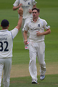 Chris Woakes(Warwickshire County Cricket Club) celebrates taking the wicket of Scott Borthwick   (Durham County Cricket Club) during the LV County Championship Div 1 match between Durham County Cricket Club and Warwickshire County Cricket Club at the Emirates Durham ICG Ground, Chester-le-Street, United Kingdom on 14 July 2015. Photo by George Ledger.