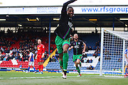 Bristol City striker, Jonathan Kodjia (22) celebrates making it 1-1 during the Sky Bet Championship match between Blackburn Rovers and Bristol City at Ewood Park, Blackburn, England on 23 April 2016. Photo by Pete Burns.