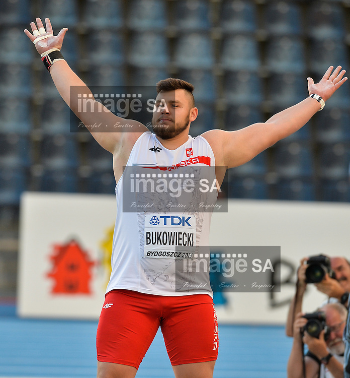 BYDGOSZCZ, POLAND - JULY 19: Konrad Bukowiecki of Poland in the final of the mens shot put during the afternoon session on day 1 of the IAAF World Junior Championships at Zawisza Stadium on July 19, 2016 in Bydgoszcz, Poland. (Photo by Roger Sedres/Gallo Images)