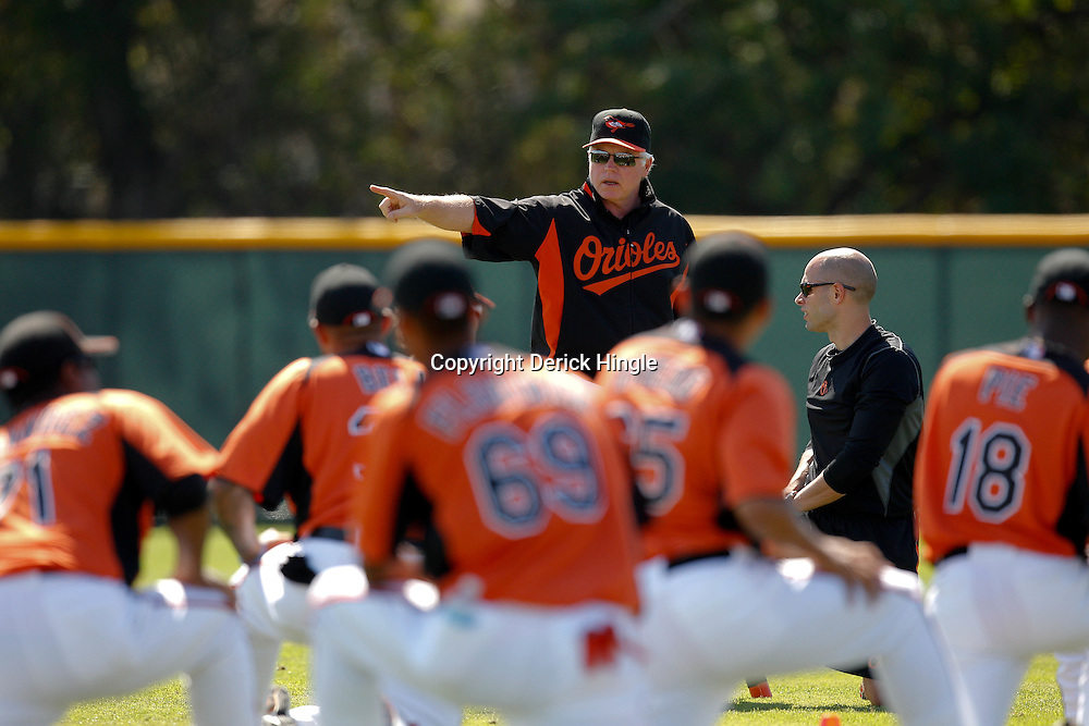 February 21, 2011; Sarasota, FL, USA; Baltimore Orioles manager Buck Showalter during spring training at Ed Smith Stadium.  Mandatory Credit: Derick E. Hingle