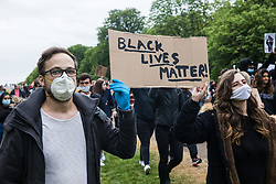 Hundreds of people take part in a peaceful protest march in solidarity with the Black Lives Matter movement on 4th June 2020 in Windsor, United Kingdom. The march, along the Long Walk in front of Windsor Castle, was organised at short notice by Jessica Christie at the request of her daughter Yani, aged 12, following the death of George Floyd while in the custody of police officers in Minneapolis in the United States.