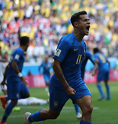 SAINT PETERSBURG, June 22, 2018  Philippe Coutinho of Brazil celebrates scoring during the 2018 FIFA World Cup Group E match between Brazil and Costa Rica in Saint Petersburg, Russia, June 22, 2018. Brazil won 2-0. (Credit Image: © Cao Can/Xinhua via ZUMA Wire)