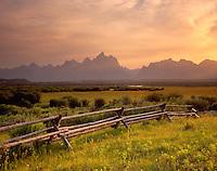 Sunset over the Grand Tetons from the Sagebrush Flats, Grand Teton National Park Wyoming