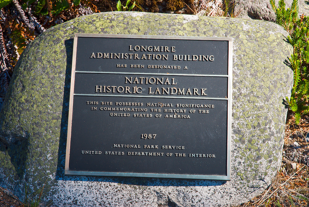 National historic plaque at the Longmire administration building, Mount Rainier National Park, Washington