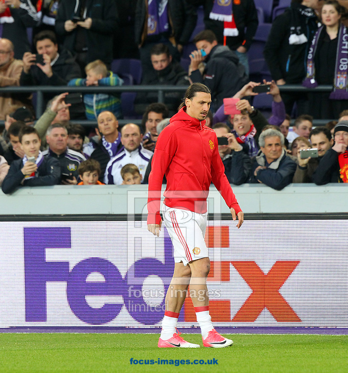 All the home fans want a photo of Zlatan Ibrahimovic of Manchester United before the UEFA Europa League match at Constant Vanden Stock Stadium, Anderlecht<br /> Picture by Paul Chesterton/Focus Images Ltd +44 7904 640267<br /> 13/04/2017