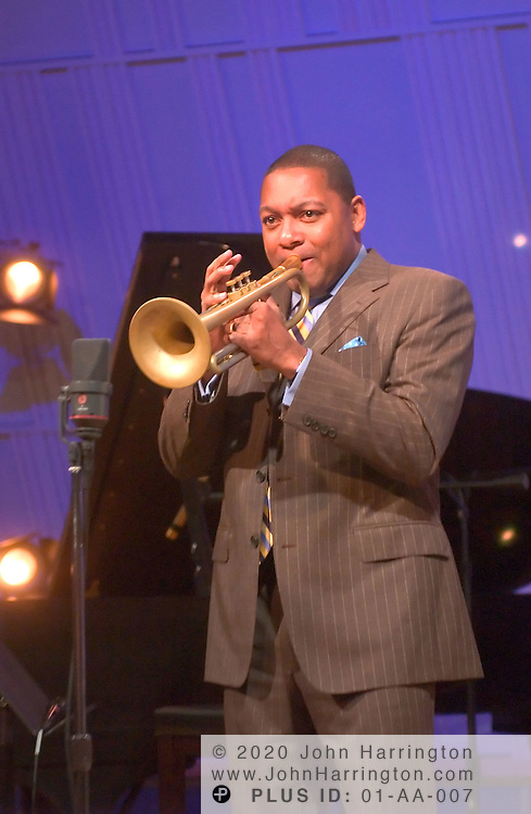 Wynton Marsalis, by far the best-known African-American instrumentalist in classical music and among the more prominent jazz musicians of modern era, preforms at XM's Artist Confidential on Thursday August 26, 2004.