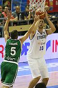 DESCRIZIONE : Alicante Spagna Spain Eurobasket Men 2007 Italia Slovenia Italy Slovenia <br /> GIOCATORE : Andrea Bargnani <br /> SQUADRA : Nazionale Italia Uomini Italy <br /> EVENTO : Eurobasket Men 2007 Campionati Europei Uomini 2007 <br /> GARA : Italia Slovenia Italy Slovenia <br /> DATA : 03/09/2007 <br /> CATEGORIA : tiro <br /> SPORT : Pallacanestro <br /> AUTORE : Ciamillo&amp;Castoria/Fiba <br /> Galleria : Eurobasket Men 2007 <br /> Fotonotizia : Alicante Spagna Spain Eurobasket Men 2007 Italia Slovenia Italy Slovenia <br /> Predefinita :