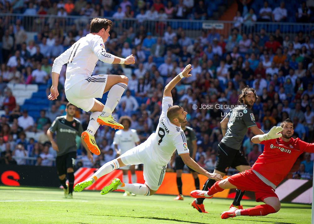 Gareth Bale in action during Real Madrid v Espanol, La Liga football match at Santiago Bernabeu on May 18, 2014 in Madrid, Spain